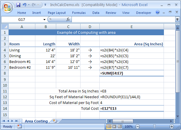 InchCalc Add-in for Excel